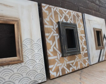 Set of 3- 5x7 Metallic Distressed Mod Frames