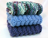 Knit Dishcloths Cotton Knitted WashCloth Blue Purple - SticksNStonesGifts