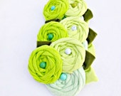 Green Ombre Rosette Flower Fascinator, Green Hair Fascinator, Rosette Flower Sash