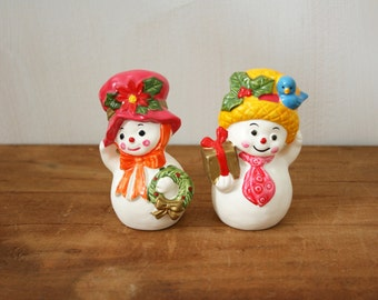 Vintage Napcoware Snowmen Salt and Pepper Shakers Number x8829A