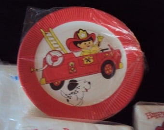 Vintage Party Maid Collection of Fireman and Truck Happy Birthday Childrens Paper Plates Tablecloth Luncheon and  Beverage Napkins