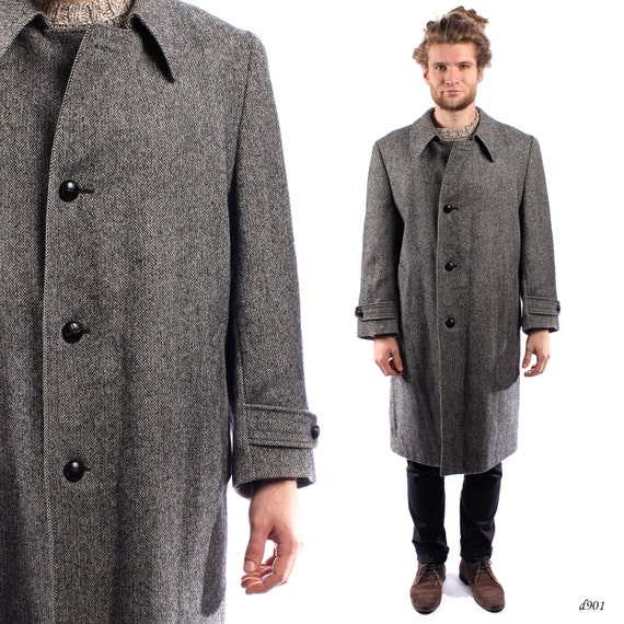 Mens Tweed Coat 1950s . Vintage Winter Coat . Mens Wool Coat .