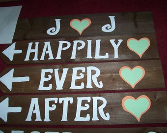 4 rustic wedding signs w/stake / hand painted signs / wooden signs / wedding decorations / mr and mrs sign / reception sign / ceremony sign