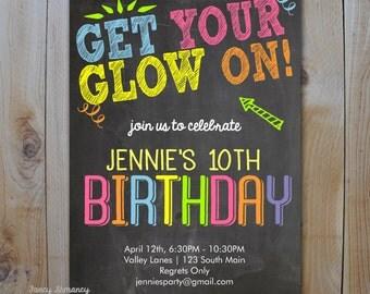 Neon Birthday Invitation / Get Your Glow On / Glow in the Dark / PRINTABLE INVITATION / 3512