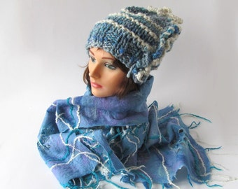 Slouchy knit hat and scarf  Winter set hat and scarf Blue white hat and scarf squared cell scarf Wool Hat Handspun Yarn Felt scarf