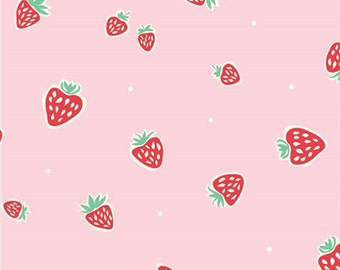 Organic Cotton Fabric- Birch -Everyday Party- STRAWBERRIES pink - Great Shipping Rates