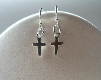 Tiniest Silver Cross Earrings