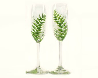 Set of 2 Botanical Forest Fern Champagne Glasses - Hand-Painted Lush Green Ferns - Hand Painted Champagne Wedding Toasting Flutes Gift Idea