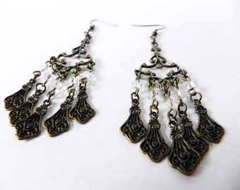 Earrings Neo-Victorian Metals Steampunk Filigree Chandelier Earrings in Brass Now On Sale!