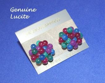 Vintage Multi Color Cluster Earrings Marbelized Beads  Vintage 1970's