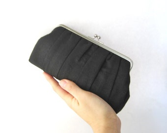 Frame clutch - bridesmaid clutch - black pleated clutch purse