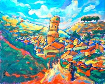 Picturesque Arrival-Giclee Print, Spain Painting, Camino de Santiago, Village Landscape, Whimsical Art, Impressionist, Orange, Cezanne Style