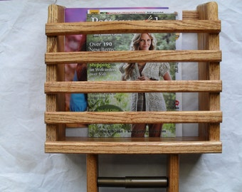 Oak wall Magazine Rack and TP Holder