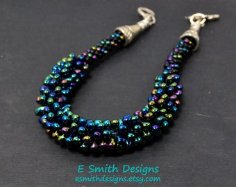 8 inch bracelet with silver tone findings in multicolor  iridescent glass seed beads