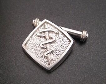 Sterlium Plus Silver Staff of Asclepius Cufflinks