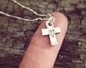 Teeny Tiny Cross with Heart Stamped Necklace in Pure Fine Silver PMC Little Small