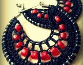 Crocheted hoops with beads in Black
