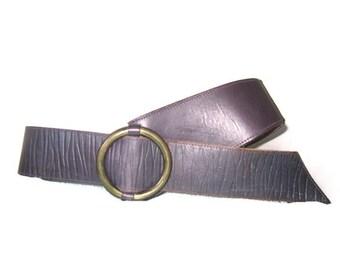 Vintage 80s Leather Belt,  cipriani Belt, Purple Leather Belt, Brass buckle, M/L