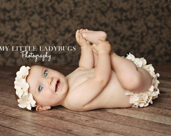 Cream Hydrangea Flower Bloomers  Newborn Infant, Wedding, Easter, Spring  Photo Session Prop