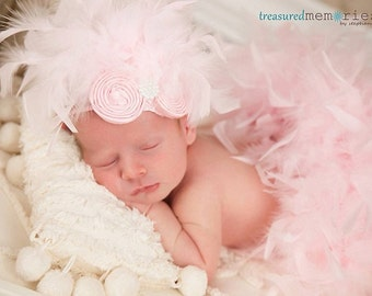 Pink Feather Couture Satin Bloomers & Headband Set Newborn thru 24 months  Perfect for summer newborn birthday photo session prop