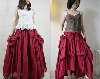 2 In 1 Take Me to Your Heart...Steampunk Short Front/ Long back Tiered Maroon Light Cotton Skirt With 2 Roomy Pockets