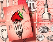 Strawberries and Wine gift tags vintage French ATC 2.5 x3.5 inch digital Instant Download 198