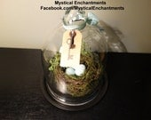 Extra Large Glass CLoche with nest, moss, eggs and skeleton key