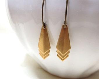Raw Brass Geometric Chevron Earrings - Modern Drop - Arrows - Dangle - Long - minimalistic