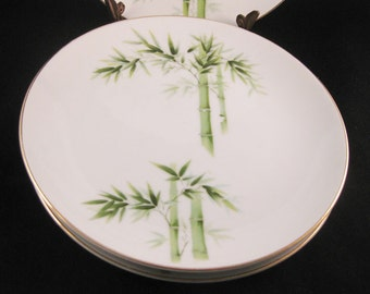 Orient China Bamboo Salad Plates(4)Made In Japan