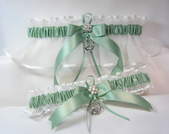 IRISH Wedding garters claddaugh Garter set Sage Green