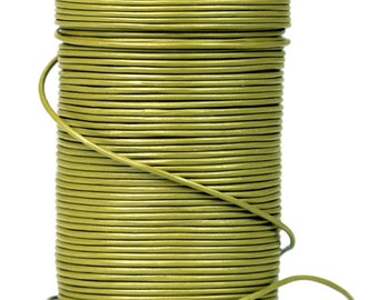 SHOP SALE - Olive Green Khaki Greek Genuine Leather Cord, By the Yard, round 1.5mm, DIY Mykonos Nautical Craft Jewelry Supplies