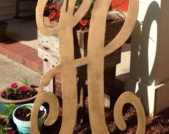 3ft wooden monogram letter measures approx 36inches by 24inches Thicker/larger font letters will have an additional charge if over 2ft wide