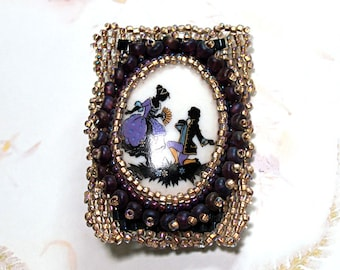 Will You Marry Me?- handmade brooch- beadwoven brooch- handwoven jewelry- Victorian style brooch- vintage style- art to wear- gift for her