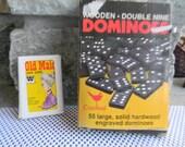 Vintage box of dominoes rustic wedding kids table