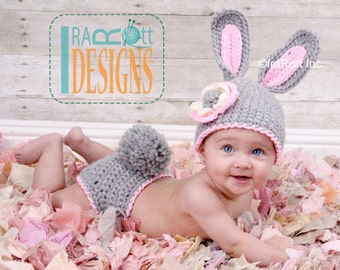 PATTERN Easter Bunny Hat and Diaper Cover Set Crochet PDF Pattern for 5 sizes