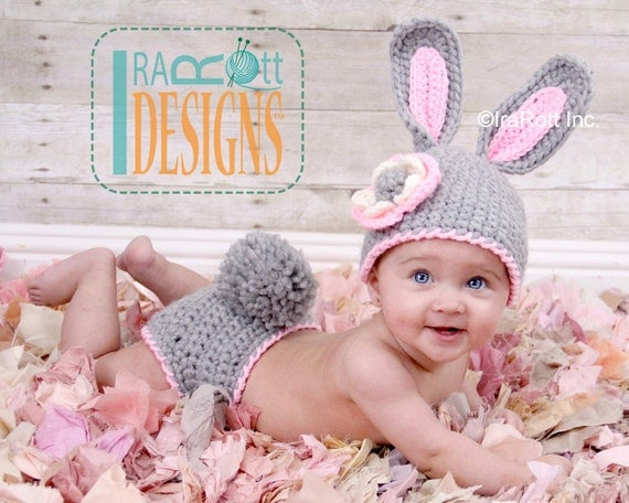 Free Crochet Pattern For Bunny Ears And Diaper Cover : PATTERN Easter Bunny Hat and Diaper Cover Set Crochet PDF