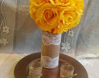 Large YELLOW Rose Pomander - Perfect for centerpiece for Weddings/ Baby and bridal shower/ Nursery or home Decor