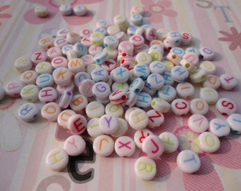 Wholesale 50pcs 7mmx7mm colorful Acrylic character/letter Beads with 1.5mm Hole