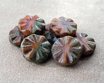 CLEARANCE...30% OFF...Picasso Table Cut Coins, Czech Glass Beads, 18mm, Rustic Picasso flower beads (10pcs)
