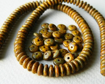 Picasso Czech glass donut beads, Rondelle glass beads, 6mm, Yellow & Picasso (100pcs) NEW