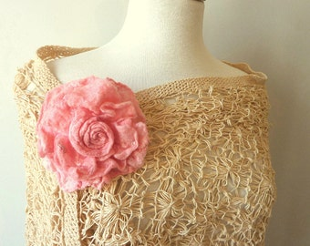 Pink Flower Brooch - Shawl Pin - Rose - Large Fabric Flower