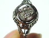 Diamond Engagement Ring Art Deco Engagement Ring Antique Vintage Ring Wedding Ring w 25pt Diamond in 14k Gold Filigree Ring Size 7