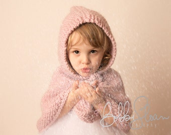 Knit girls poncho Children clothing Handmade toddler cape with hood. Girls cape. 1T to 4T  Wool Pastel pink.  Handmade girl clothes