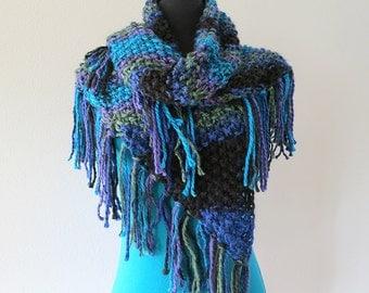 SALE - Turquoise Blue Green Black Lavender Color Stripes Women Fichu Mini Shawl Wrap Stole Scarf with Multicolor Tassels