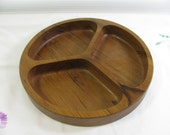 "Nice Teak Divided Serving Plate by Dolphin 9"" in Diameter 1.25"" Tall  Like New Condition"