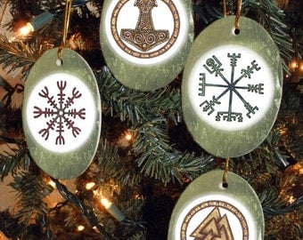 Set Of Four Viking Heathen Asatru Symbols Yule Winter Solstice Ornaments