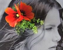 Tomato Red Poppy hair flowers cluster - hair  clip -