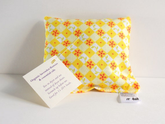Sweet Yellow Meadow Reusable Dryer Sachet with Choice of Scent, Reusable Sachet, Lavender Sachet