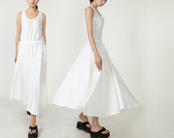 Maxi Dress Unique Loose fitting Long Vest Sundress Summer Dress in White for Women (more colour and size choice)-NS01