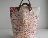 Small  Storage tote bucket  Keiko Orchid with leather handles Hand printed